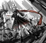 1girl absurdres arknights ascot bangs black_dress building dragon_girl dragon_horns dress dutch_angle frilled_sleeves frills full_body grey_hair hair_intakes high_heels highres holding holding_sword holding_weapon horns long_hair long_scarf long_sleeves looking_at_viewer looking_down nga_(artist) red_scarf scarf scowl skyscraper solo sword talulah_(arknights) walking weapon