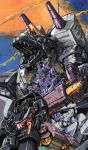1980s_(style) brunt cannon crossed_legs decepticon dinosaur full-tilt gun hand_on_own_face holding holding_weapon marble-v mecha monster oldschool red_eyes robot_animal runabout runamuck sharp_teeth teeth tire transformers trypticon weapon wheel