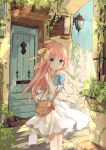 1girl :o animal_ears bag bangs bare_shoulders blue_eyes blush bow commentary_request day door dress eyebrows_visible_through_hair hair_between_eyes hair_bow highres kushida_you long_hair looking_at_viewer object_hug original outdoors parted_lips pink_hair plant rabbit_ears shoulder_bag sleeveless sleeveless_dress solo standing stuffed_animal stuffed_bunny stuffed_toy very_long_hair wall_lamp white_dress yellow_bow