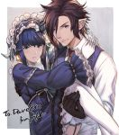 1boy 1girl arms_around_neck artist_name au_ra bangs belt black_gloves black_horns blue_dress blue_eyes blue_hair blue_vest blunt_bangs blush breasts brown_hair brown_neckwear carrying closed_mouth collared_shirt commentary_request commission couple dragon_girl dragon_horns dress ear_piercing elezen elf feet_out_of_frame fictional_persona final_fantasy final_fantasy_xiv frilled_dress frilled_hairband frilled_sleeves frills garter_straps gloves grey_background hair_over_one_eye hairband horns ivris lace-trimmed_sleeves leather leather_gloves long_sleeves looking_at_viewer messy_hair necktie parted_lips partial_commentary piercing pointy_ears princess_carry puffy_long_sleeves puffy_sleeves ribbon shiny shiny_hair shirt short_hair sidelocks simple_background small_breasts smile thigh-highs upper_body v-shaped_eyebrows vest violet_eyes white_background white_gloves white_legwear white_shirt windowboxed wing_collar