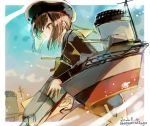 1girl blue_sky brown_eyes cannon dress hat highres kantai_collection kriegsmarine military_hat nagasawa_tougo peaked_cap redhead rigging sailor_dress sailor_hat short_hair sky smokestack solo turret z3_max_schultz_(kantai_collection)