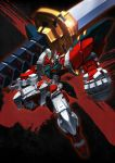clenched_hand glowing glowing_eyes green_eyes gundam gundam_astray_red_frame gundam_seed gundam_seed_astray highres holding holding_sword holding_weapon lens_flare mecha no_humans over_shoulder solo superphotrone sword v-fin weapon