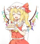 1girl :d ^_^ absurdres ascot bangs blonde_hair blush bow cake cake_slice caramell0501 closed_eyes collared_shirt crystal drooling eyebrows_visible_through_hair fang flandre_scarlet food frilled_shirt_collar frills fruit hat hat_bow highres holding holding_plate long_hair mob_cap mouth_drool one_side_up open_mouth plate puffy_short_sleeves puffy_sleeves red_bow red_skirt red_vest shirt short_sleeves simple_background skirt smile solo strawberry touhou vest white_background white_headwear white_shirt wings yellow_neckwear