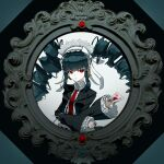 1girl bangs black_background black_hair blunt_bangs bonnet card celestia_ludenberg center_frills commentary_request danganronpa:_trigger_happy_havoc danganronpa_(series) drill_hair eyebrows_visible_through_hair framed frills gothic_lolita grey_background hairband highres lolita_fashion lolita_hairband long_hair long_sleeves looking_at_viewer necktie parted_lips playing_card red_eyes red_neckwear shiny shiny_hair solo twin_drills twintails yomu_(dangan_yomu)