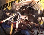 2girls animal_ear_fluff animal_ears arknights arrow_(projectile) black_hair black_legwear blood blood_on_face bloody_clothes bloody_weapon coat eye_contact facial_mark fingerless_gloves gloves grey_eyes hair_ornament hairclip hand_to_own_mouth highres holding holding_sword holding_weapon lappland_(arknights) long_hair looking_at_another multiple_girls nga_(artist) originium_(arknights) outdoors pantyhose shoes short_shorts shorts silver_hair slit_pupils smirk sword tail texas_(arknights) torn_clothes torn_legwear very_long_hair weapon wolf_ears wolf_girl wolf_tail yellow_eyes