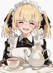 1girl aogisa apron black_dress blonde_hair blush closed_eyes cup dress fangs hair_ribbon highres holding holding_tray long_sleeves maid maid_headdress mole mole_under_eye open_mouth original ribbon saucer solo tea_set teacup teapot tray upper_body white_apron white_background