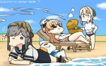 3girls beach bikini bikini_bottom bikini_under_clothes bird black_skirt blonde_hair blue_sailor_collar blue_sky braid braided_bun chair character_name clouds commentary_request dated day doubutsu_no_mori food french_braid grill hamu_koutarou highres johnny_(doubutsu_no_mori) kantai_collection kebab long_hair lounge_chair lying multiple_girls on_stomach outdoors perth_(kantai_collection) pleated_skirt sailor_collar school_uniform seagull seaweed serafuku shirt short_hair skirt sky sunglasses swimsuit swimsuit_under_clothes tied_shirt usugumo_(kantai_collection) violet_eyes wavy_hair white_shirt zara_(kantai_collection)