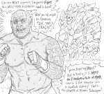 1boy arm_tattoo bb_(baalbuddy) clenched_hands commentary elemental_(creature) english_commentary english_text greyscale highres joe_rogan male_focus martial_arts mma_gloves monochrome monster muscle navel orc original parody real_life sweat tattoo tusks wide-eyed