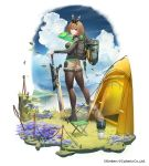 1girl ash_arms boots breasts brown_hair character_request commentary_request eyebrows_visible_through_hair grass hairband highres jjune long_sleeves looking_at_viewer medium_breasts pantyhose short_hair shorts solo sword tent violet_eyes water waterfall weapon