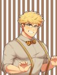 1boy absurdres alternate_costume bangs blonde_hair blush bow bowtie chest clayten formal glasses granblue_fantasy green_eyes highres looking_at_viewer male_focus muscle shirt smile solo toned toned_male vane_(granblue_fantasy)