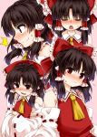 /\/\/\ 1girl ascot black_hair blush bow closed_eyes commentary_request crossed_arms detached_sleeves flying_sweatdrops hair_bow hair_tubes hakurei_reimu long_hair looking_at_viewer multiple_views nose_blush open_mouth pink_background red_bow red_eyes red_shirt shirt simple_background smile sweatdrop touhou upper_body yellow_neckwear zetsumame