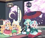 5girls apron bangs black_hairband black_ribbon blonde_hair blue_eyes blue_headwear blunt_bangs brown_hair bug butterfly cat chen cherry_blossoms chibi closed_eyes commentary_request crescent_moon cup dango dress fang food fox_tail green_hair green_headwear green_kimono hair_ribbon hairband hat hitodama holding holding_food indoors insect japanese_clothes kimono konpaku_youmu konpaku_youmu_(ghost) kotatsu lamp long_hair long_sleeves lumine_(2339) mob_cap moon multiple_girls multiple_tails open_mouth oriental_umbrella petals pillow_hat pink_hair red_eyes red_umbrella ribbon round_window saigyouji_yuyuko short_hair sitting smile sword sword_behind_back table tail teapot television touhou triangular_headpiece umbrella wagashi weapon white_dress white_headwear wide_sleeves yakumo_ran yakumo_yukari yunomi