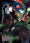 1boy cloak collarbone fingernails fog hair_over_one_eye halloween holding holding_scythe holding_weapon hood hood_up hooded_cloak kyouichi lantern moon original outdoors parted_lips red_cloak red_eyes red_moon scythe solo spirit torn_clothes tree turtleneck weapon white_hair