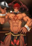 1boy abs bara chest chest_tattoo collarbone dark_skin dark_skinned_male f_jun highres horns ifrit_(tokyo_houkago_summoners) large_hands looking_at_viewer male_focus muscle nail_polish nipples pectorals pointy_ears red_eyes redhead revealing_clothes shirtless solo spiky_hair tattoo thick_thighs thighs tokyo_houkago_summoners upper_body