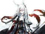 1girl animal_ears arknights blizzard bunny_girl cloak facial_scar frostnova_(arknights) frown gloves grey_eyes hair_ornament hair_over_one_eye hairclip highres holding long_sleeves looking_at_hand nga_(artist) rabbit_ears scar slit_pupils solo upper_body white_background white_hair wind