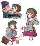 1boy 1girl alcohol bag bangs beer bench bottle brown_eyes brown_hair chillarism cigarette commentary_request constricted_pupils dress drooling flask green_headwear grey_hoodie highres hood hoodie hop_(pokemon) jitome leaning_forward looking_at_another multiple_views pink_dress poke_ball pokemon pokemon_(game) pokemon_swsh pom_pom_(clothes) saliva sitting smoke smoking swept_bangs tam_o'_shanter translation_request yuuri_(pokemon)