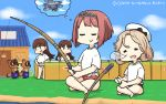 4girls ark_royal_(kantai_collection) bangs bikini bikini_bottom bikini_under_clothes blonde_hair blue_sky blunt_bangs bob_cut brown_eyes brown_hair closed_eyes clouds commentary_request crossover dated day doubutsu_no_mori dreaming dual_persona fence fishing_line fishing_rod hairband hamu_koutarou hands_on_hips hat highres holding holding_fishing_rod house indian_style janus_(kantai_collection) kantai_collection long_hair mamekichi_(doubutsu_no_mori) multiple_girls nose_bubble ooi_(kantai_collection) outdoors parted_bangs redhead sailor_hat shirt short_hair sitting sky sleeping swimsuit swimsuit_under_clothes swordfish_(airplane) tanuki thought_bubble tiara tied_shirt tsubukichi_(doubutsu_no_mori) white_headwear white_shirt x_navel