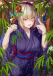 1girl artoria_pendragon_(all) breasts eyebrows eyebrows_visible_through_hair fate/grand_order fate_(series) flower foliage hair_flower hair_ornament highres hirasawa_seiji japanese_clothes kimono large_breasts leaf naughty_face plant platinum_blonde_hair purple_kimono saber_alter seductive_smile smile tanabata yellow_eyes