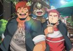 3boys animal_ears ashigara_(tokyo_houkago_summoners) blush brown_hair chest closed_eyes facial_hair forked_eyebrows furry glowing_horns green_hair gunzo_(tokyo_houkago_summoners) happy highres horns looking_at_another male_focus multiple_boys muscle native_american oro9 scar sipping smile thick_eyebrows tokyo_houkago_summoners upper_body wakan_tanka