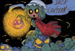 1girl :o black_background cape collared_cape colorized commentary english_commentary from_side green_hair hat ink_(medium) inktober jack-o'-lantern lantern leaf looking_at_viewer looking_to_the_side mixed_media monster_girl open_mouth original plant_girl pumpkin rariatto_(ganguri) red_cape sitting smoke solo traditional_media twitter_username