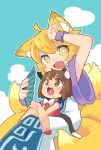 2girls :3 ahoge animal_ear_fluff animal_ears arm_up armpit_peek bangs blonde_hair blue_sky blush bow bowtie brown_hair cat_ears cat_tail chen chibi clouds commentary_request dress fan fang folding_fan fox_ears fox_tail full_body hand_on_own_head hand_up highres holding holding_fan knees_together_feet_apart multiple_girls multiple_tails no_hat no_headwear paw_pose pmx red_vest shirt short_hair short_sleeves sidelocks sitting sitting_on_lap sitting_on_person sky tabard tail touhou vest white_bow white_dress white_shirt wide_sleeves wrist_cuffs yakumo_ran yellow_eyes