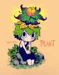 1girl bare_shoulders barefoot black_dress black_eyes blush closed_mouth colorized commentary dress english_commentary flower flower_on_head green_hair grey_background highres ink_(medium) inktober leaf leaf_on_head long_dress looking_at_viewer mixed_media monster_girl original plant_girl rariatto_(ganguri) short_hair simple_background sitting sleeveless sleeveless_dress solo traditional_media twitter_username wide-eyed