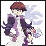 1boy arm_belt artsy-rc black_border blue_eyes border bright_pupils brown_hair card closed_mouth commentary deck duel_disk english_commentary hand_on_hip highres holding holding_card juliet_sleeves kaiba_seto long_sleeves looking_at_viewer puffy_sleeves signature solo yuu-gi-ou