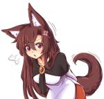 1girl :o =3 anger_vein animal_ear_fluff animal_ears arms_behind_back breasts brooch brown_hair collarbone dress eyebrows_visible_through_hair hair_between_eyes imaizumi_kagerou jewelry large_breasts layered_dress leaning_forward long_hair long_sleeves looking_at_viewer motion_lines open_mouth red_eyes red_skirt shawl sidelocks skirt solo standing tail touhou upper_body very_long_hair white_dress wolf_ears wolf_tail wool_(miwol)
