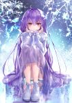 1girl absurdres bangs dress fate/grand_order fate_(series) frozen hane_yuki highres huge_filesize knees_up long_hair long_skirt long_sleeves purple_hair red_eyes scathach_(fate)_(all) scathach_skadi_(fate/grand_order) shoes sitting skirt smile solo