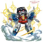 1boy chibi dated decepticon floating flying highres kamizono_(spookyhouse) mecha mechanical_wings no_humans open_hands open_mouth red_eyes solo starscream transformers transformers:_war_for_cybertron_trilogy twitter_username white_background wings