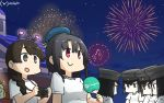 6+girls akitsu_maru_(kantai_collection) alternate_costume black_eyes black_hair black_headwear braid brown_eyes brown_hair camera commentary_request crossover dated doubutsu_no_mori fan fireworks hair_over_shoulder hamu_koutarou hat highres kantai_collection long_hair multiple_girls multiple_persona night night_sky paper_fan peaked_cap red_eyes shirt shizue_(doubutsu_no_mori) short_hair single_braid sky star_(sky) starry_sky t-shirt takao_(kantai_collection) uchiwa upper_body uranami_(kantai_collection) white_shirt