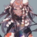 1girl artist_name bangs blue_eyes chinese_text collar english_text facing_viewer grey_background hair_ornament lemontea looking_at_viewer original parted_lips simple_background solo traditional_clothes translation_request upper_body