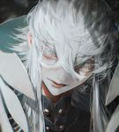 1boy asclepius_(fate/grand_order) au_(d_elite) bangs close-up collar eyelashes fate/grand_order fate_(series) green_eyes hair_between_eyes hood light long_hair looking_at_viewer male_focus pale_skin solo upper_body white_hair