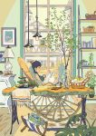 1girl bare_legs barefoot basket blue_hair bracelet breasts chair cityscape cup floor food fruit glasses highres jewelry lamp magazine medium_breasts original picture_(object) plant potted_plant reclining rocking_chair rug short_hair smile sweater table teacup umishima_senbon vase window wooden_floor
