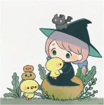 ayu_(mog) bird black_dress blue_bow bow chick dress grass green_eyes greyscale hair_bow hat long_sleeves monochrome pink_hair pumpkin simple_background sitting twintails witch witch_hat