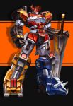 black_background clenched_hand daijuujin dinosaur glowing glowing_eyes highres holding holding_sword holding_weapon horns korean_commentary kyouryuu_sentai_zyuranger mecha megazord mighty_morphin_power_rangers no_humans orange_eyes power_rangers standing super_sentai superphotrone sword weapon