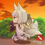 2girls :d animal_ears azur_lane black_hair black_legwear carrying carrying_over_shoulder chibi clouds cloudy_sky crossover detached_sleeves fox_ears fox_tail grey_eyes japanese_clothes kaga_(battleship)_(azur_lane) kaga_(kantai_collection) kantai_collection kyuubi long_hair multiple_girls multiple_tails namesake open_mouth pleated_skirt short_hair side_ponytail skirt sky smile tail taisa_(kari) thigh-highs translation_request twilight twitter_username walking white_hair white_legwear zettai_ryouiki