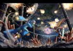 arm_cannon arm_up aura battle cape character_request check_commentary commentary_request energy_sword explosion floating highres holding holding_sword holding_weapon levitation motion_blur outdoors partial_commentary planet robot rockman rockman_x sword tanziya_(codlxcold) weapon x_(rockman) yellow_cape zero_(rockman)