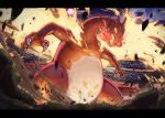 breathing_fire charizard claws commentary_request dirt fiery_wings fire gen_1_pokemon gigantamax gigantamax_charizard grass highres horns kuroi_susumu legs_apart open_mouth pokemon pokemon_(creature) sharp_teeth stadium standing teeth