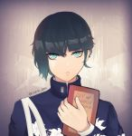1boy absurdres ambiguous_gender bag bangs black_hair blue_eyes book bowl_cut ciarre eyelashes floral_print gakuran green_hair highres holding holding_book looking_at_viewer male_focus meme protagonist_(smtv) school_uniform shin_megami_tensei_v short_hair simple_background solo twitter_username