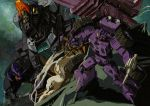 1980s_(style) cannon claws clenched_hand debris decepticon dinosaur full-tilt holding holding_weapon marble-v mecha oldschool orange_eyes red_eyes robot_animal sharp_teeth smoke space teeth tire transformers trypticon weapon