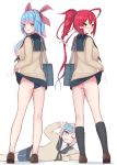 3girls alternate_costume aoba_(kantai_collection) ass bag bangs bare_legs black_legwear blue_hair blue_sailor_collar blue_skirt blurry blurry_background blush breasts brown_footwear cardigan cellphone eyebrows_visible_through_hair fang from_behind full_body hair_ribbon highres i-168_(kantai_collection) i-19_(kantai_collection) kantai_collection kneehighs lifted_by_self long_hair long_sleeves looking_at_viewer looking_back multiple_girls one_eye_closed open_mouth panties phone pink_hair pink_panties ponytail red_eyes redhead ribbon sailor_collar school_bag school_swimsuit school_uniform serafuku shoes shoulder_bag simple_background skirt skirt_lift smile standing star-shaped_pupils star_(symbol) sweater swimsuit swimsuit_under_clothes symbol-shaped_pupils taking_picture tiemu_(man190) underwear white_background