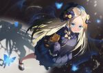1girl abigail_williams_(fate/grand_order) bangs black_bow black_dress black_headwear blonde_hair blue_eyes bow breasts bug butterfly dress fate/grand_order fate_(series) forehead hair_bow hat highres insect long_hair multiple_bows orange_bow parted_bangs parted_lips polka_dot polka_dot_bow ribbed_dress sleeves_past_fingers sleeves_past_wrists small_breasts smile stuffed_animal stuffed_toy teddy_bear tsukise_miwa