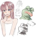 1girl :d bare_shoulders blue_eyes blush boy's_club brown_hair buttoniris commentary dress english_commentary hand_up highres medium_hair open_mouth original pepe_the_frog sketch smile white_dress