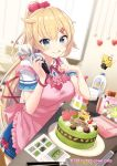 1girl akai_haato apron baking blonde_hair blue_eyes blue_skirt blush breasts cake cake_decoration chocolate chocolate_on_face closed_mouth commentary_request computer copyright_name food food_on_face haaton_(haato_channel) hair_ornament hair_ribbon hair_scrunchie hairpin highres hololive indoors kitchen knife laptop licking_lips long_hair medium_breasts pastry_bag pink_apron pink_scrunchie recipe_(object) red_ribbon ribbon scrunchie shiokazunoko short_sleeves skirt smile solo tongue tongue_out very_long_hair virtual_youtuber