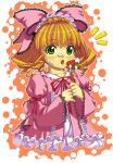 food fruit green_eyes hair_ribbon hair_ribbons hina_ichigo kink ribbon ribbons rozen_maiden short_hair strawberries strawberry