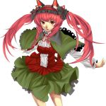 1girl absurdres alternate_costume alternate_hairstyle animal_ears braid capelet cat_ears eiru0517 hairband highres kaenbyou_rin outstretched_arms red_eyes redhead skirt solo spread_arms touhou twin_braids twintails white_background