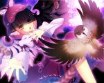 1girl animal_ears bird clear_moon dutch_angle feathers fingernails hat highres long_fingernails looking_at_viewer mystia_lorelei nail_polish outstretched_hand owl pink_hair shaded_face short_hair solo touhou yellow_eyes