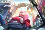 1girl amy_rose animal_ears bangs bird blue_sky car day driving english_commentary fisheye furry green_eyes ground_vehicle hairband happy highres looking_up miitara motion_blur motor_vehicle open_mouth outdoors pink_hair red_hairband sideways_mouth sketch sky smile solo_focus sonic_the_hedgehog