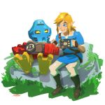 2boys bionicle blonde_hair blue_eyes boots crossover fingerless_gloves gloves highres link mask moss multiple_boys pointy_ears robot rock stup-jam takua the_legend_of_zelda the_legend_of_zelda:_breath_of_the_wild the_lego_group trait_connection tunic yellow_eyes